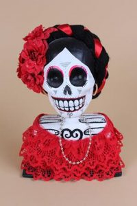Skull Bust by Crystina G., 20th Century, México. Paper maché.